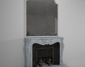 3D Antique French Marble Fireplace