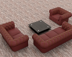 Leather Sofa and Chairs 3D