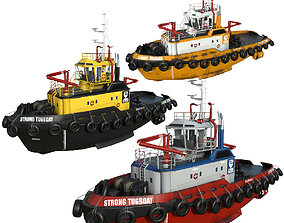 3D model set Tugboats 30m