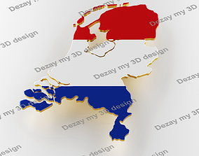 3D model Map of Netherlands land border with flag