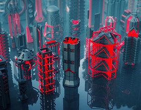 3D model SCI FI Mechanisms Kitbash Set - 100 Pieces