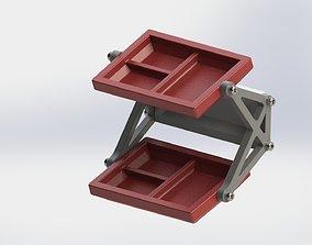 Wall mounted tray for keys tools ETC 2 shelf model