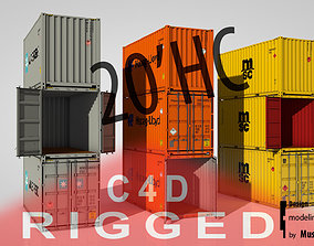 3D Shipping Container 20ft High Cube rigged