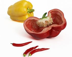 Red Yellow Paprika Peppers 3D