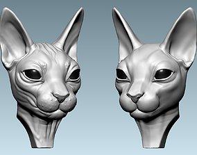 3D printable model sculptures Cat Sphynx Head