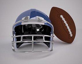 3D model Regulation NFL Football and Helmet