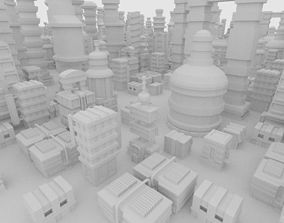 3D asset City package in the style of retro-futurism