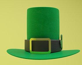 St Patricks Day Leprechaun Hat and Shamrock 3D