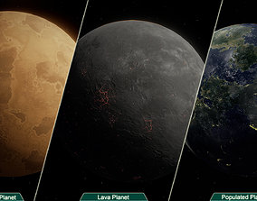 game-ready Planets PBR 3D model Game Ready