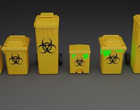 Biohazard Trash Bin Pack 3D asset