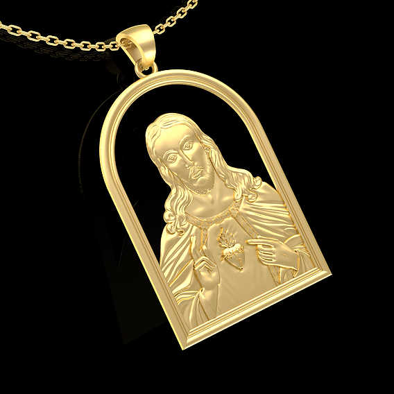 JESUS CHRIST LOVE HEART Pendant Jewelry Gold 3D print model