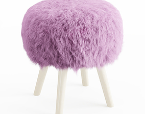 3D soft Faux Fur Stool