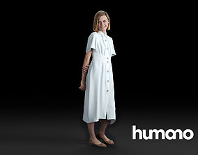Humano Woman standing and looking 0516 3D