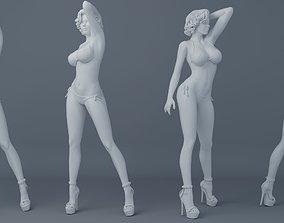 Short hair girl wearing bikini 001 3D print model