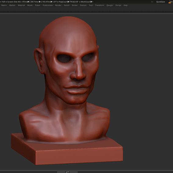 Human head modern sculpture 3d print model
