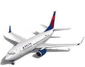 3D Delta Airlines Boeing 737-700w flight