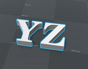 YZ letters alphabet 3D print model