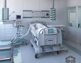 Medical renimation and intensive care room 3D