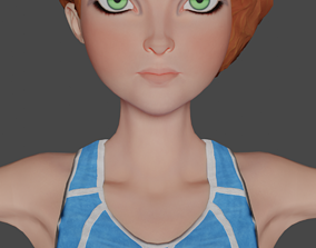 Sportswoman Cartoon 3D Model low-poly Ready for rigged 1