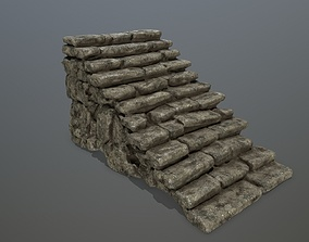 rock stairs 3D model low-poly
