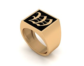 Old English Letter Ring W 3D printable model