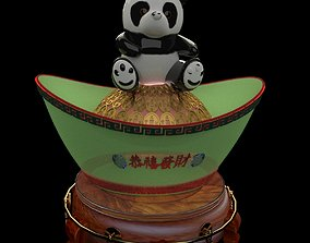 3D model Chinese yuanbao with Panda