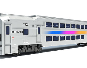 3D model Double Deck NJ Train Passenger Car