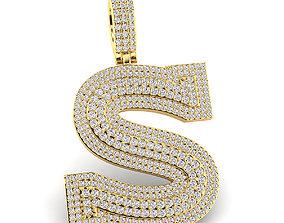 Custom 3D Initial S Letter Pendant