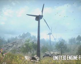 3D asset Wind Turbine - Low Poly
