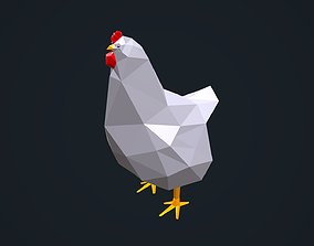 Low Poly Chicken 3D asset