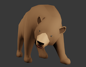 Low poly Lion Rigged 3D model rigged