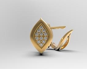 3D printable model Earrings with gems Geometric Leaf