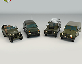 Low Poly Military Jeep Pack 3D model