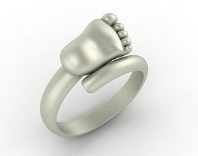 Baby foot rings 3D print model jewelry