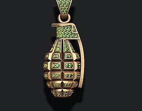 Grenade pendant with gems 3D print model