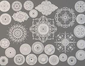 Rosettes Collection -2 - 28 pieces 3D model