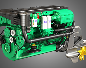 Penta D6-330 Engine - 6 Cylinder Marine Engine 3D model