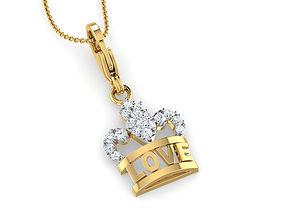 Love Crown Charm Pendant 3D print model