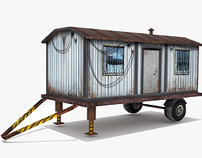 3D asset low-poly Cargo Trailer LOW POLY