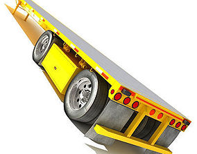 Yellow Flatbed Trailer 01 3D model