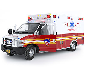 3D Ford E-Series Ambulance FDNY with Interior