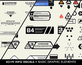 3D model SCI-FI Info Decals and Basic Graphic Elements