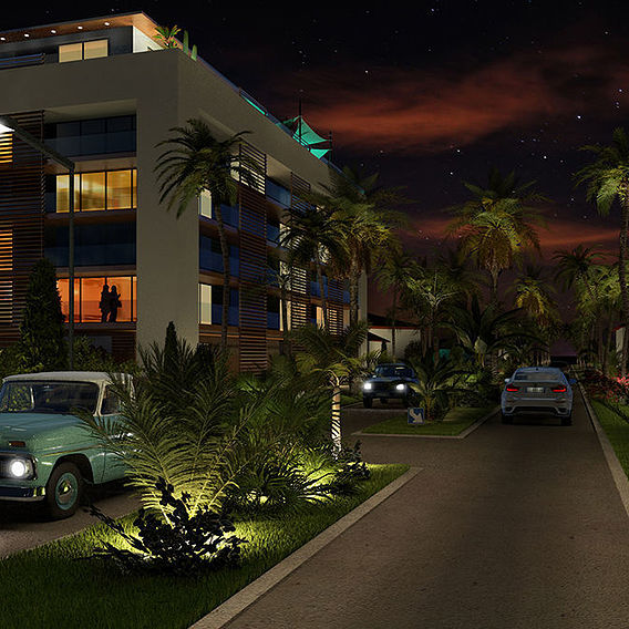 Resort project in Guadeloupe island scene