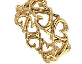 shining 3D printable model Ring with hearts