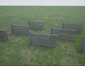 barricade Modular Wooden Fence 3D model low-poly