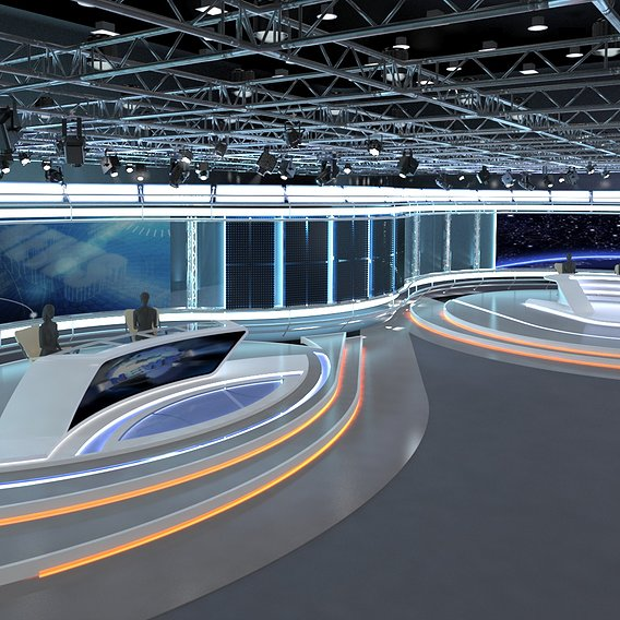3d Virtual TV Studio News Set 7