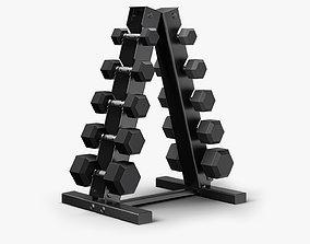 3D model low-poly Dumbbell Rack