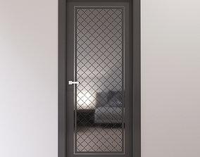 3D Dark gray interior door with shiny metal tiles