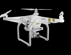 3D model Low poly DJI Phantom 3 black and white