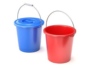 Plastic Bucket with Metal Handle and Lid 3D